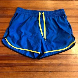 *3/20* Fill Blue Running Shorts w/ Yellow Accents